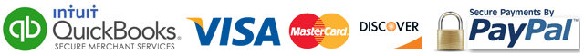We proudly accept VISA, MasterCard, Discover Cards, and PayPal