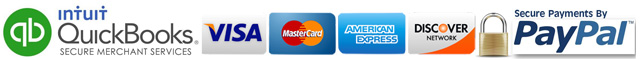 We proudly accept VISA, MasterCard, American Express, Discover Cards, and PayPal